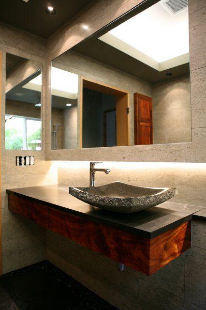 Zen Bathroom Vanity custom koa grain matched floating vanity | bathroom | pinterest