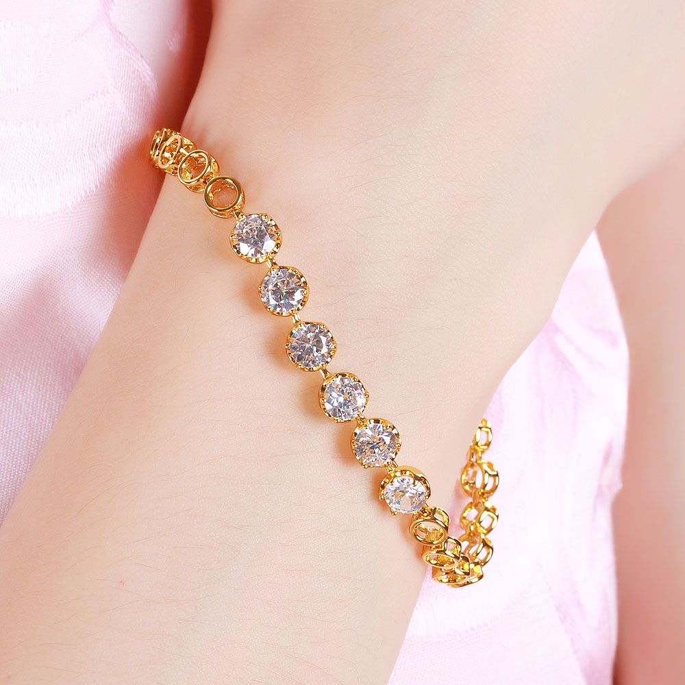 L xuping k gold bracelet gold plated fashion colorful zircon