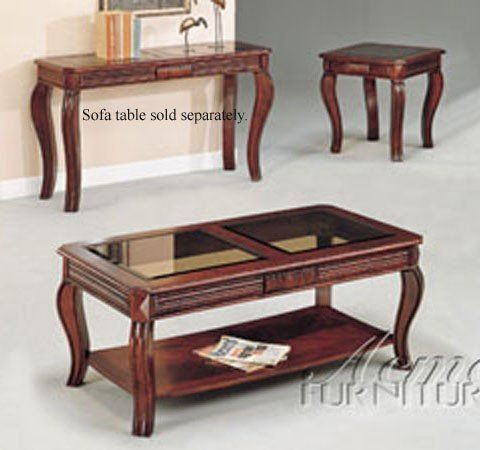 Acme 06152 Cherry 3pc C E Pk Table Set W Gl Top By 269 62 Inlaid Beveled Tops Reeded As Cabriole Legs