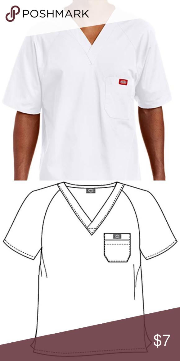 4b7ae4e012d Dickies EDS Men Raglan Sleeved Solid Nurses Scrub 816106 Color White Size  Medium V-neckline Raglan sleeves Layered chest pockets Center back length:  29 ...