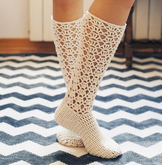 Crochet Pattern Ladies Lace Socks Crocheting Pinterest Lace