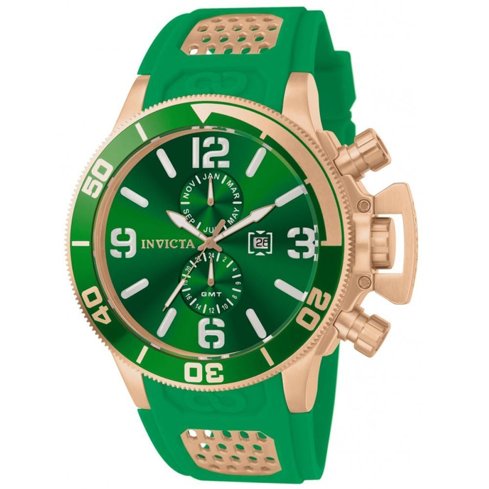 Invicta 80310 Men's Corduba Green Dial Rubber Strap Rose Gold Steel Dive GMT Watch