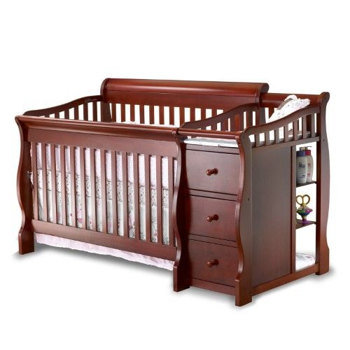 Sorelle Tuscany 4 In 1 Convertible Fixed Side Crib And Changing Table Combo Cherry Wood Finish Red Black Baby Cribs Cribs Crib And Changing Table Combo