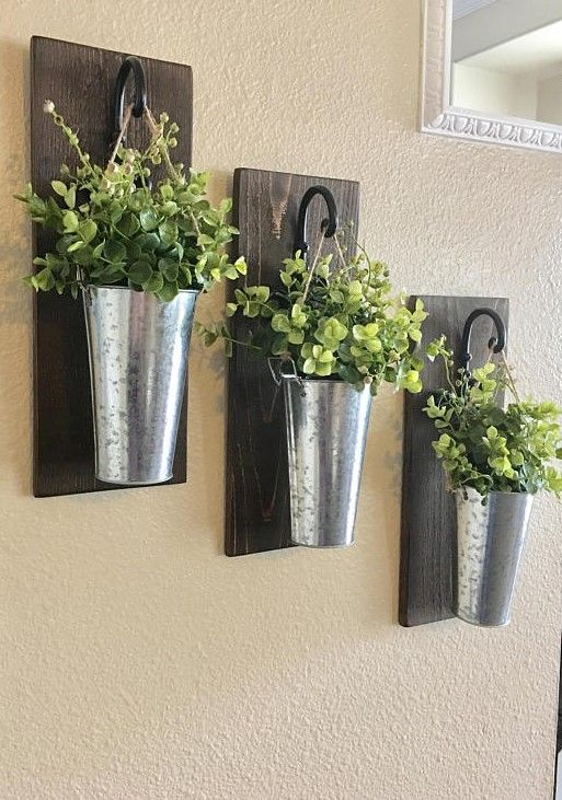 Farmhouse Style Galvanized Vase Wall Decor Sconces Ad Bucket