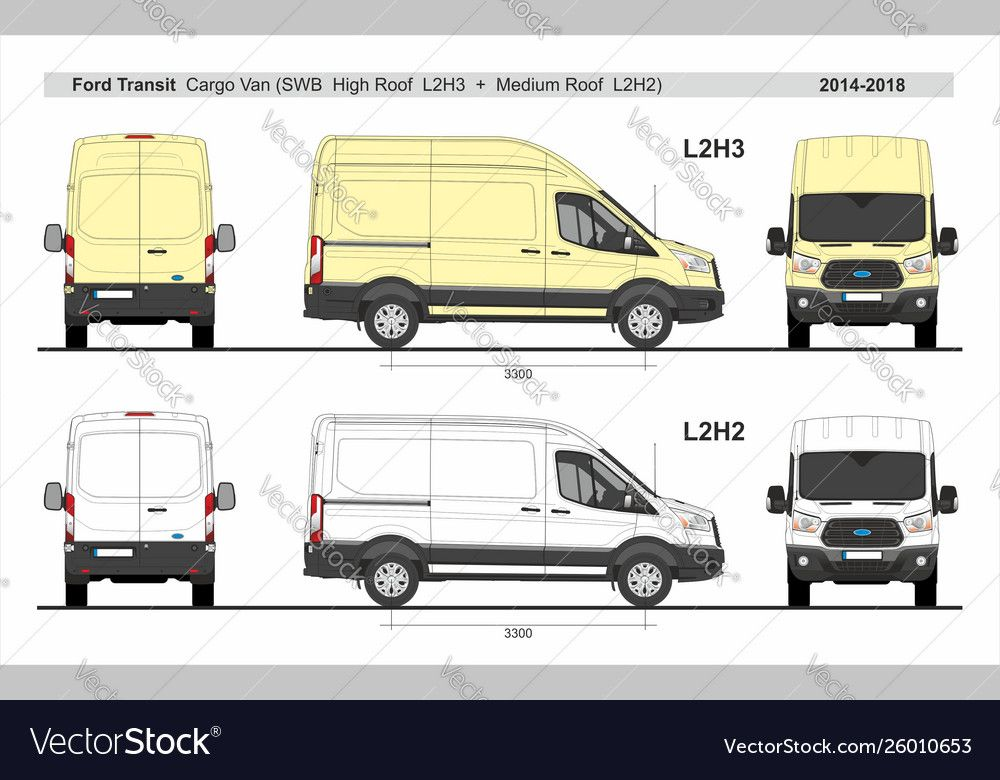 Ford Transit Cargo Van L2h2 And L2h3 2014 Present Vector Image On Ford Transit Cargo Cargo Van