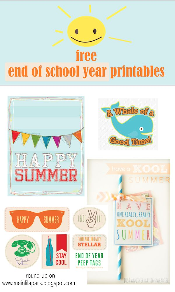 9cfd9dcd2 Free printable happy summer gift tags - end of school year - links ...