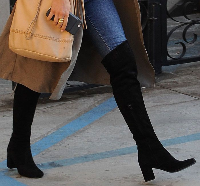 Julianne hough visits 901 salon in trench coat and knee for 901 salon beverly hills