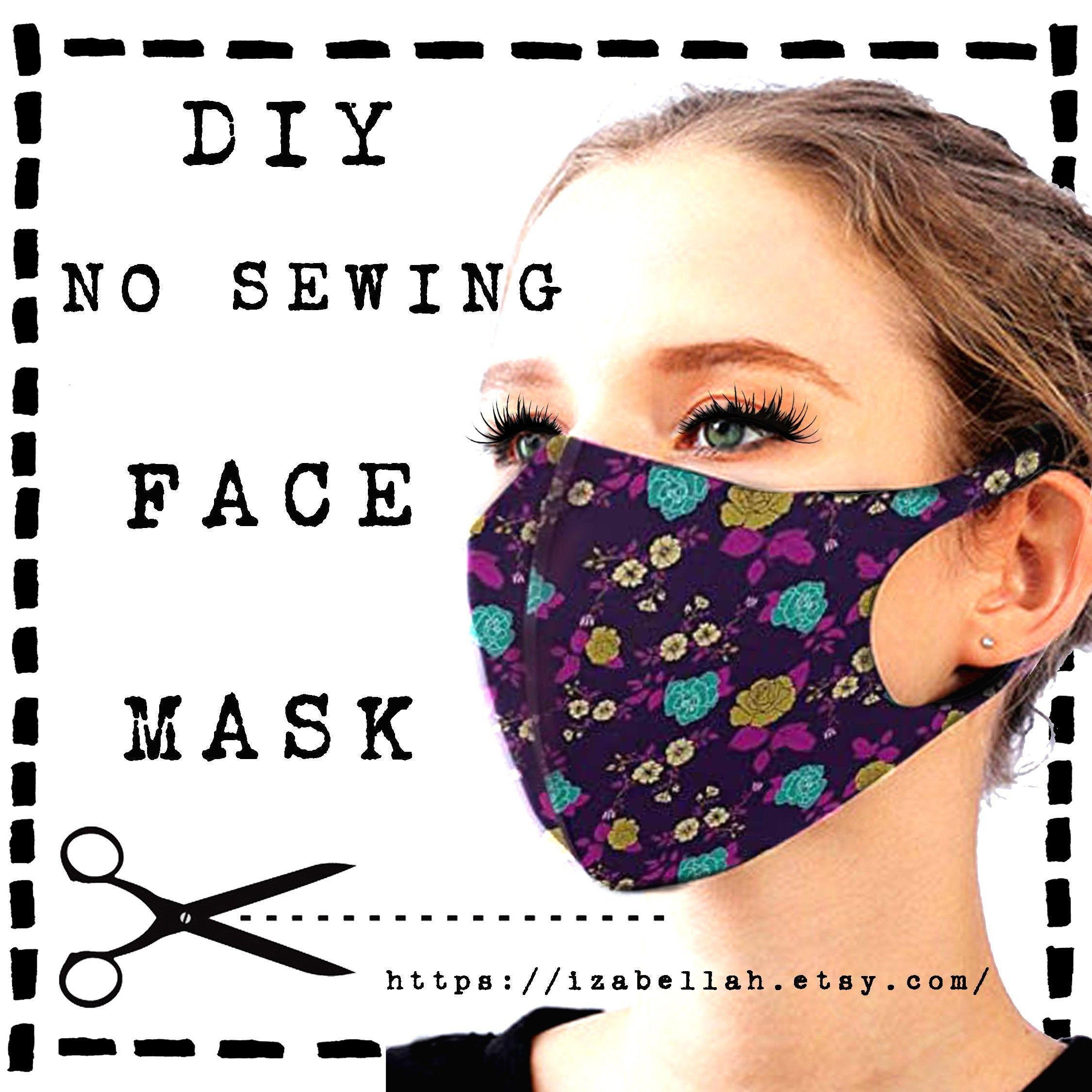 Photo of Face Mask Pattern, EASY Downloadable, DIY No Sewing, 3 Sizes Reusable Washable Adjustable Reversible Allergies Printable Bestseller Template