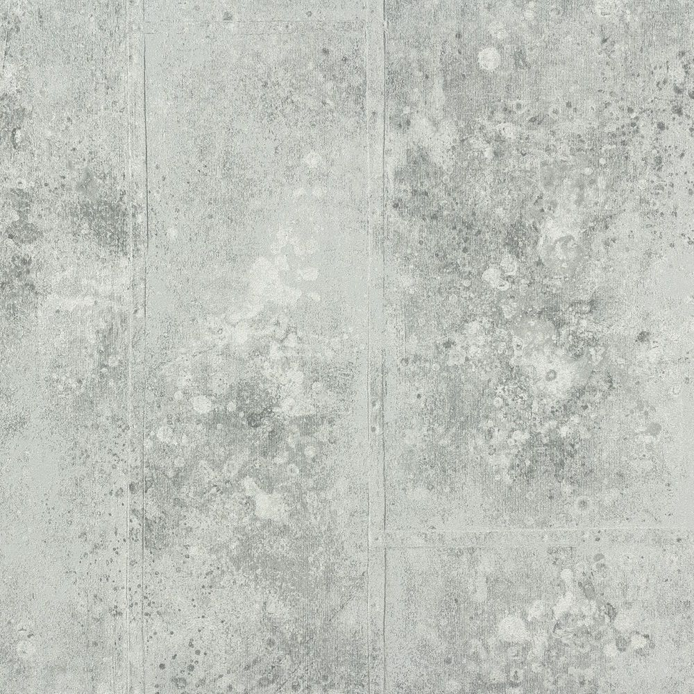 Textured Rustic French Grey Silver Wide Panelling Concrete Look Wallpaper