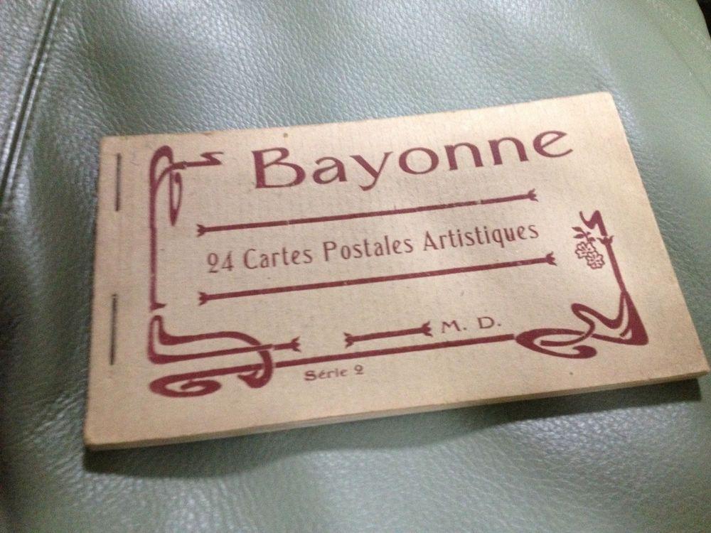 Antique 1900 WW1 era BAYONNE FRENCH POSTCARD set/book 24 pont Bridges Buildings