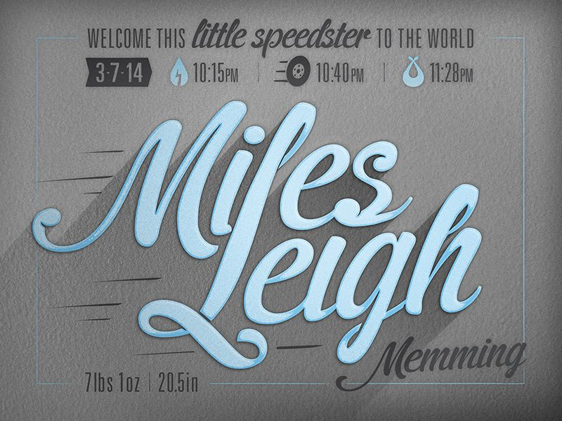 Welcome Miles Leigh by Jeremie Memming