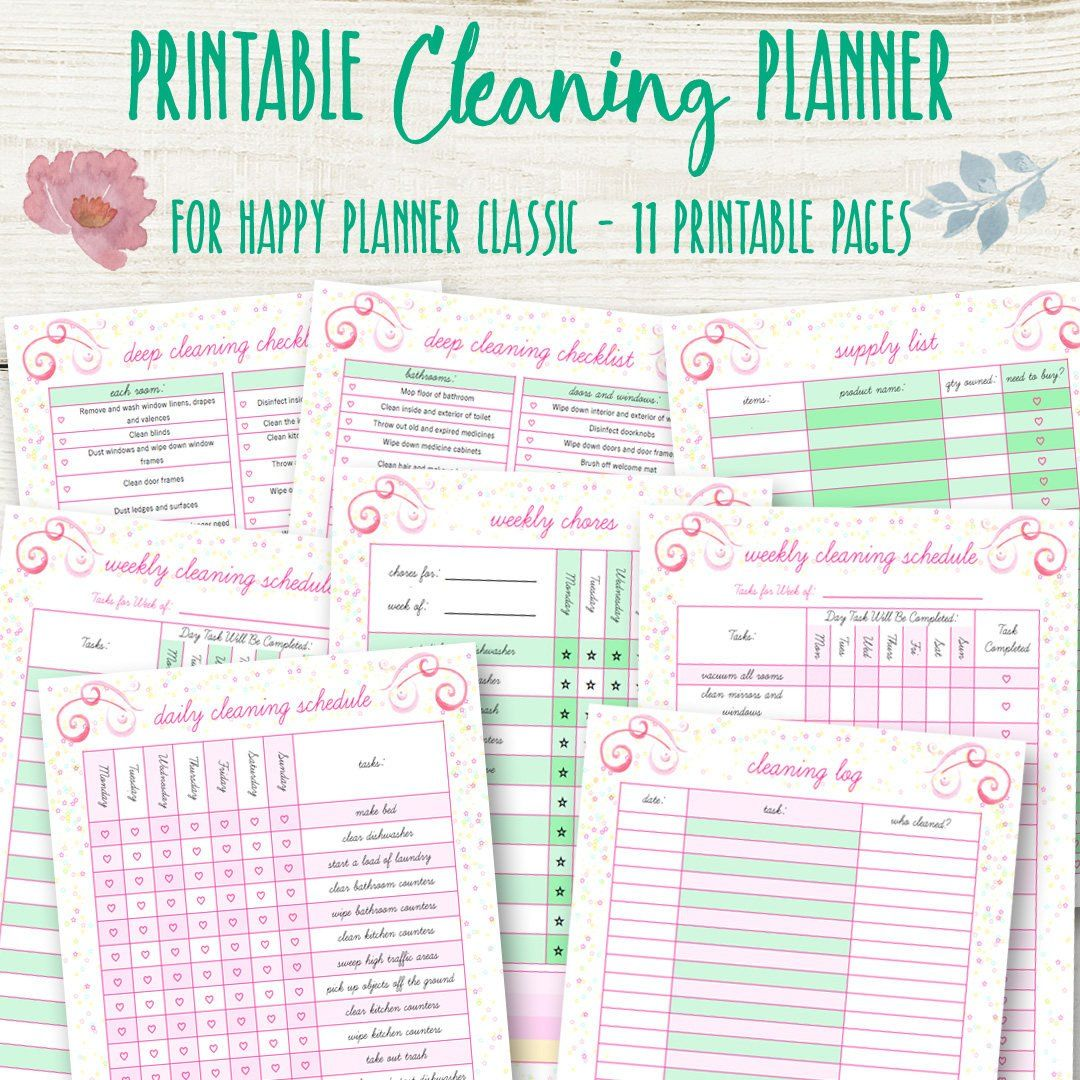 Cleaning Schedule For Happy Planner Cleaning Planner