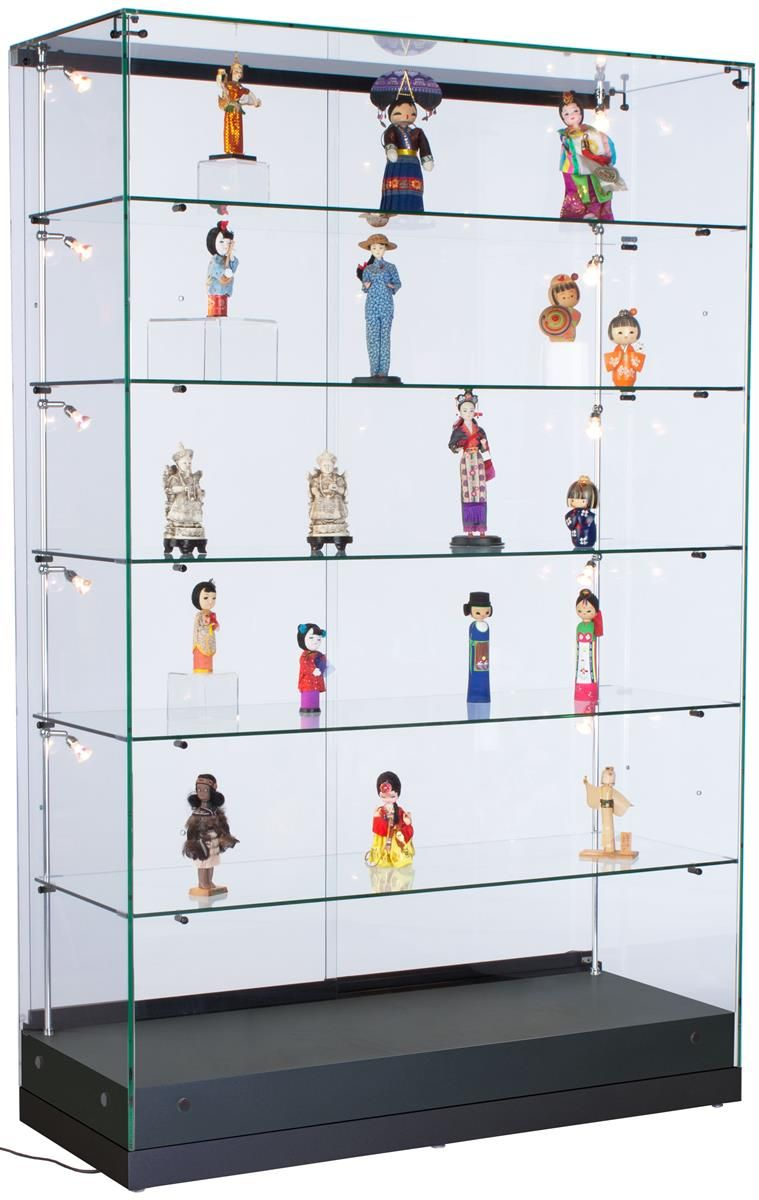 48 Quot Glass Display Case W X2f Led Side Lights Sliding Door