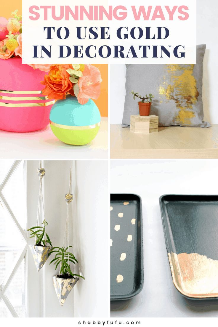 Gold in home decor is a modern classic and these amazing DIY Tutorials will inspire you to get to work! Tons of DIY Gold Ideas and DIY Gold Home Deco Inspo #DIYGoldHome #DIYLamps #DIYplanters #DIYTrays #DIYDecor #DIYGoldIdeas #SFF225
