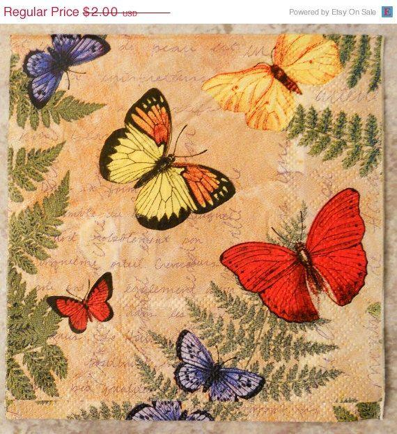 4 Single Paper Napkins for Decoupage Lovely Butterflies Yellow Orange