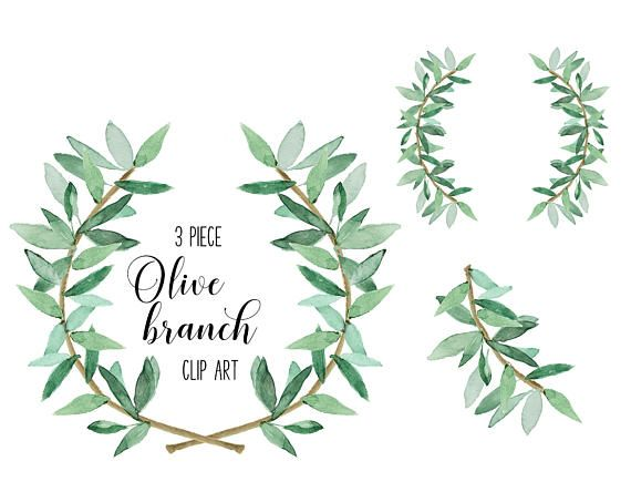 Watercolor Laurel Greenery And Coordinating Branch Set For