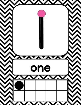 Black and White Chevron Number Signs {with counting points