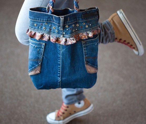 5a7ee98e6803 Как сшить сумку из старых джинсов: выкройка и мастер класс по шитью ...