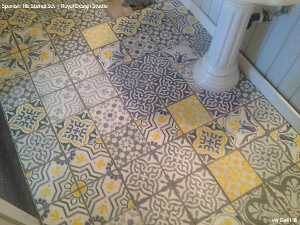 Easy Diy Fix Concrete Floor Stencils Yellow Tile Tile Stencil Yellow Bathrooms