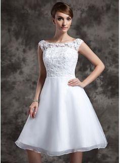 fed0b7a5b128 A-linjeformat Rund-urringning Knälång Organzapåse Spets Bröllopsklänning  (002015023)