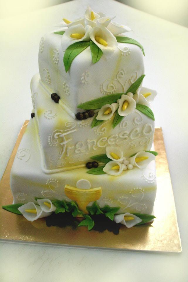 Prima comunione torta della pasticceria la mimosa di http for Decorazione torte prima comunione