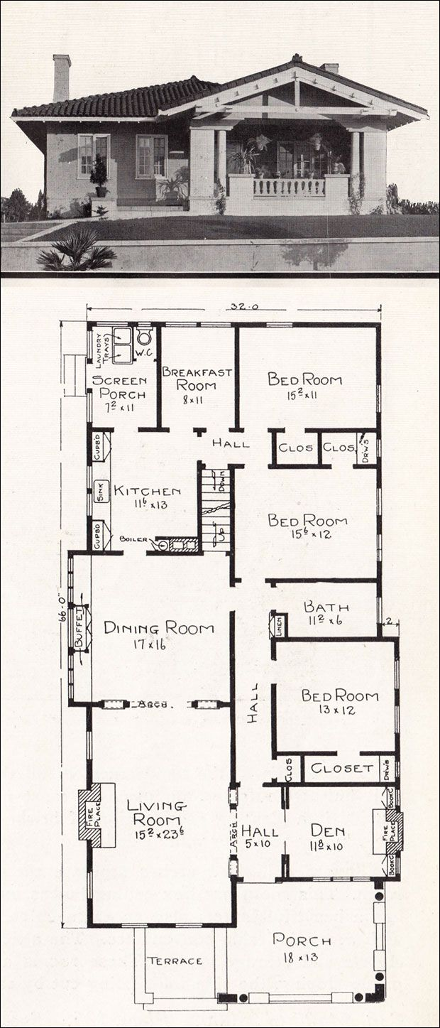 I Would Change The Breakfast Room Into A Master Bathroom For The Back Bedroom Vintage House Plans Craftsman Style House Plans Craftsman Floor Plans