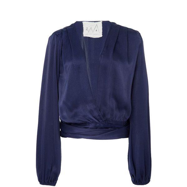 Silk Charmeuse Two Tie Blouse   Moda Operandi (£420) found on Polyvore featuring women's fashion, tops, blouses, peasant tops, silk charmeuse blouse, tie top, blue peasant top and blue peasant blouse