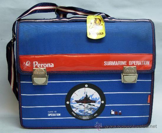 Cartera colegio Perona Submarine Operation Clave X2 años 70 nueva sin uso