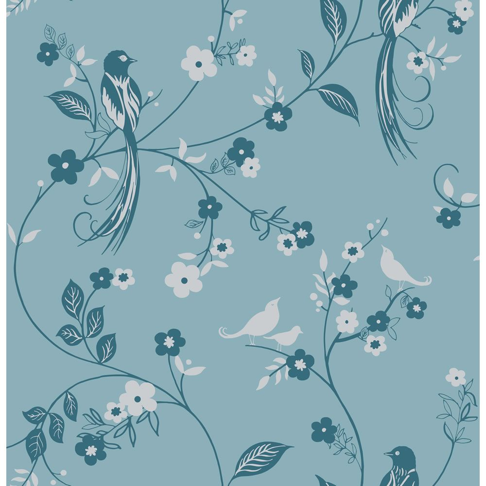 Family Room Wallpaper Wilko Bird Wallpaper Teal 50 606 8 00