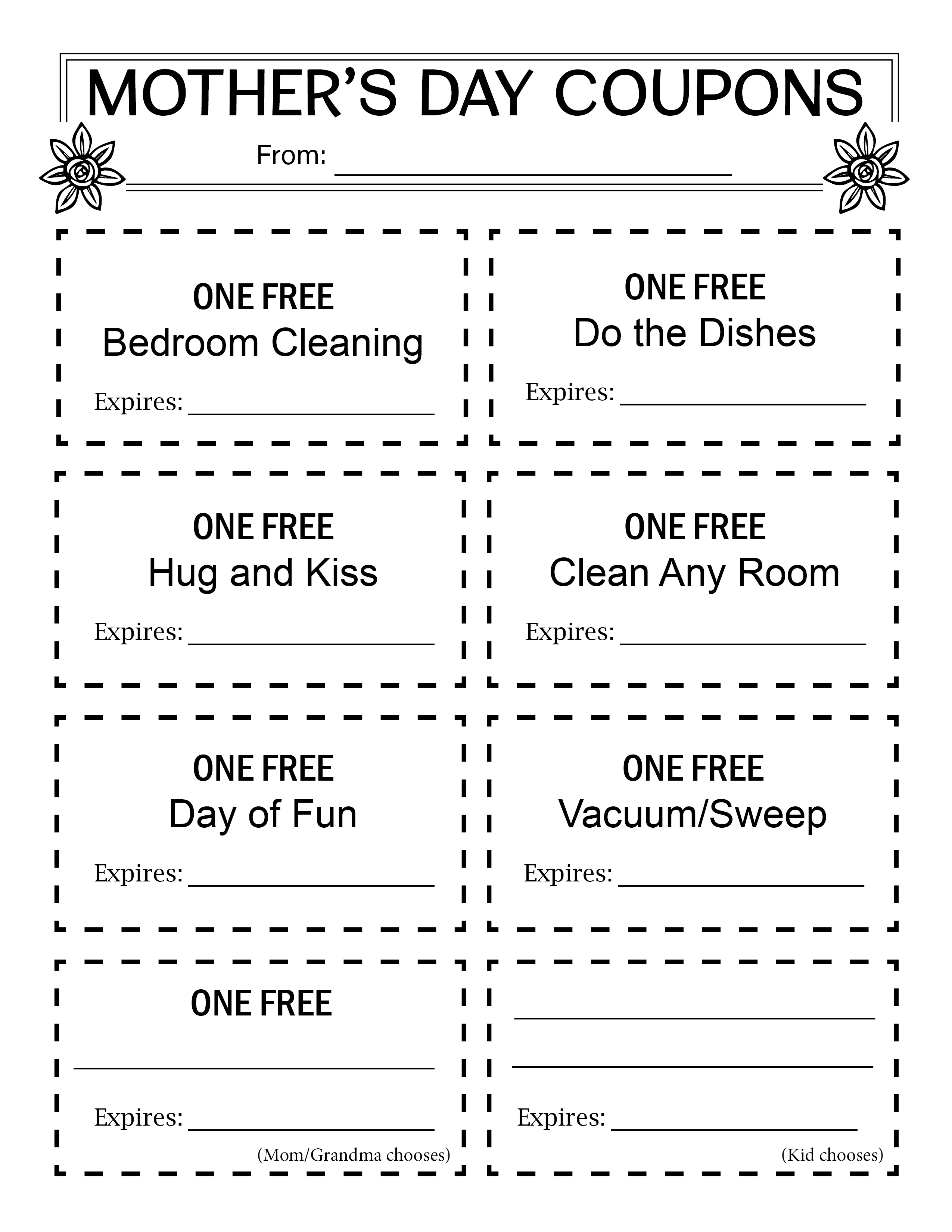 Free Mother S Day T Activity Coupons Great For Mother