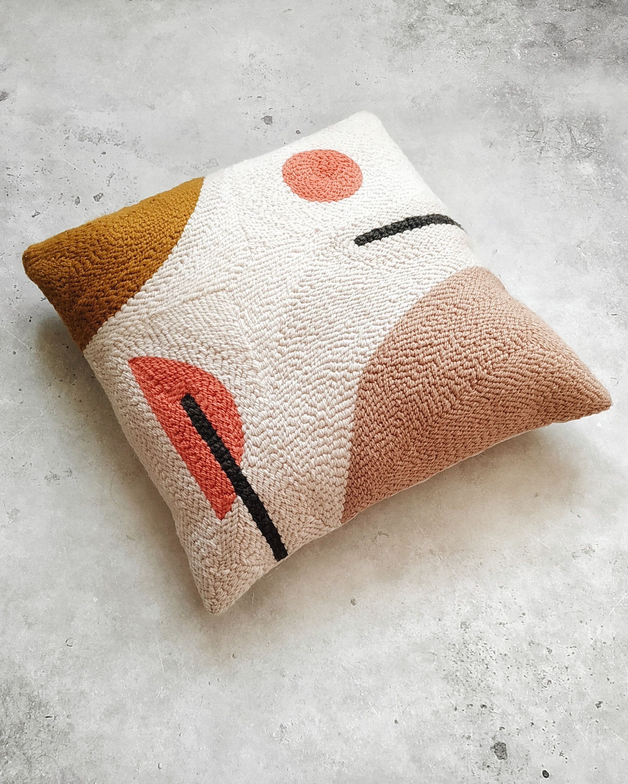 Modern Abstract Punchneedle Pillowcase Beige Mustard And Coral