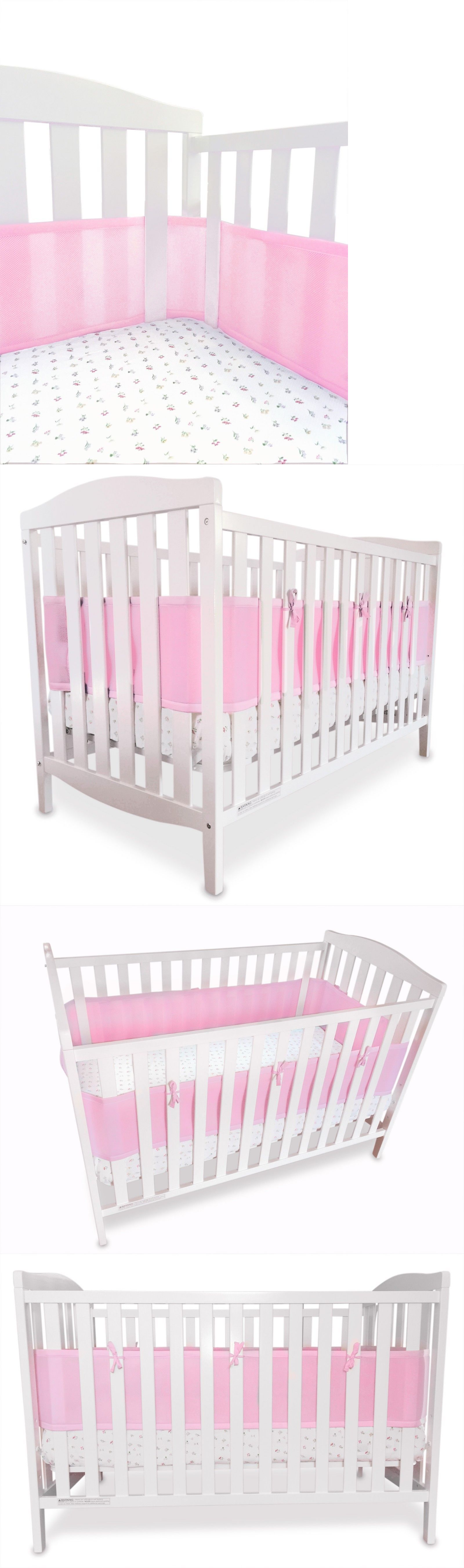 Bumpers 20417 Breathable Portable Crib Bumper Pink Mesh Liner For