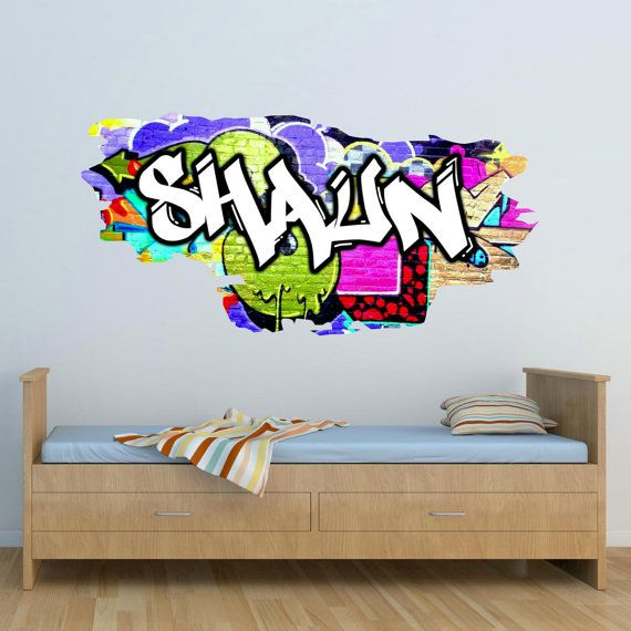 Personalised Custom Graffiti Name Wall Art Stickers Decor For Kids - Custom vinyl wall decals graffiti