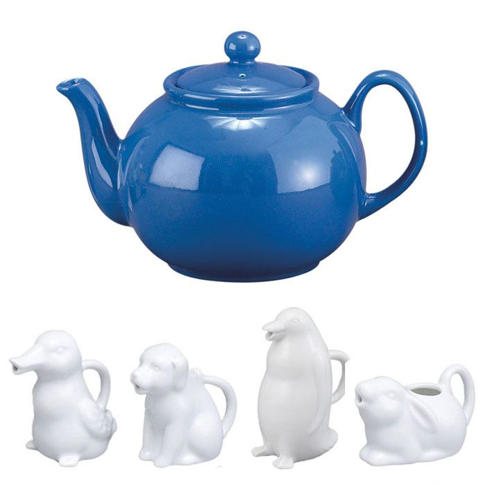 32 Oz. English Style Teapot in Blue with Animal Creamer ...