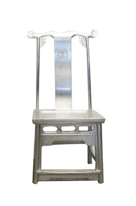 Chinese chair in silver leaf