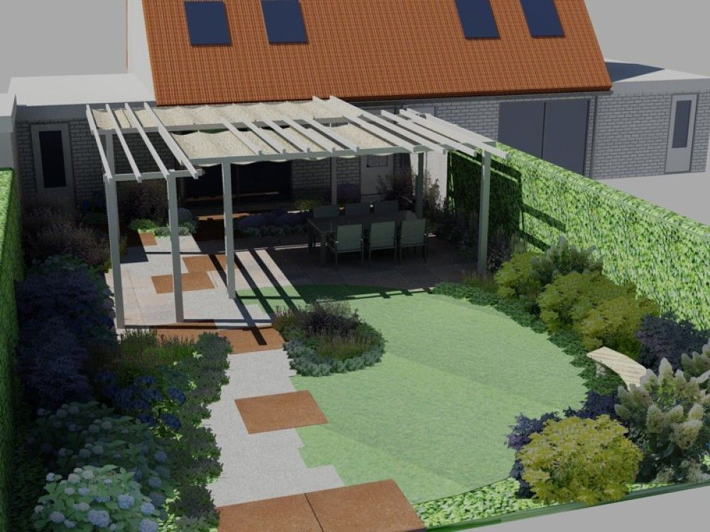 Kleine tuin 50m2 ontwerp google zoeken tuinidee n for Tuinontwerp kleine tuin strak