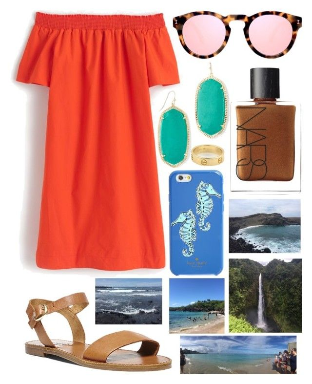 """""""Missing Hawaii…"""" by emmacaseyyyy ❤ liked on Polyvore featuring J.Crew, Steve Madden, Illesteva, NARS Cosmetics, Kendra Scott, Kate Spade and Cartier"""