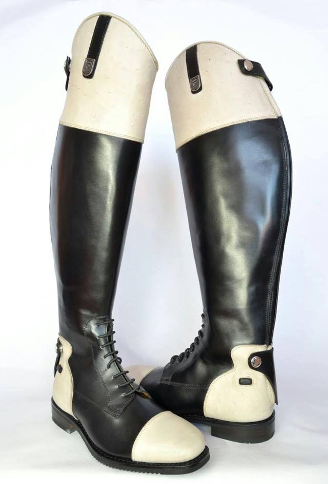 ee587289d9af Box calf custom leather boots with white ostrich. Custom made riding boots  for show jumping, dressage or eventing. Lozano boots are made to measure  boots ...