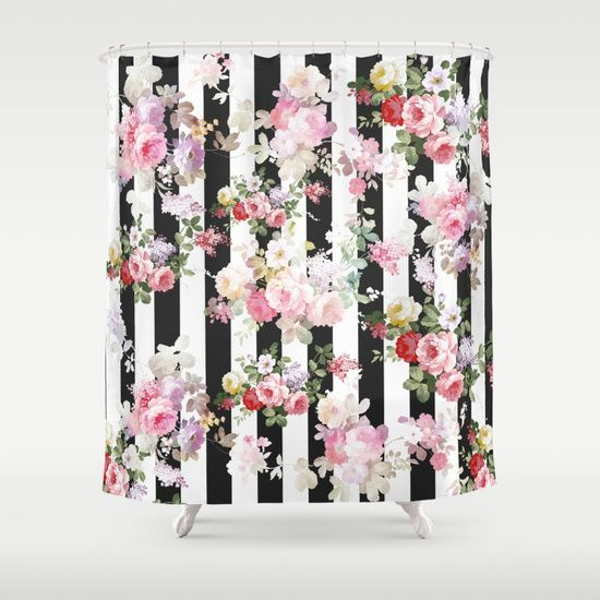 pink and white striped shower curtain. A bold pink watercolor roses flowers and vintage black white stripes  pattern colorful Striped Shower CurtainsWatercolor