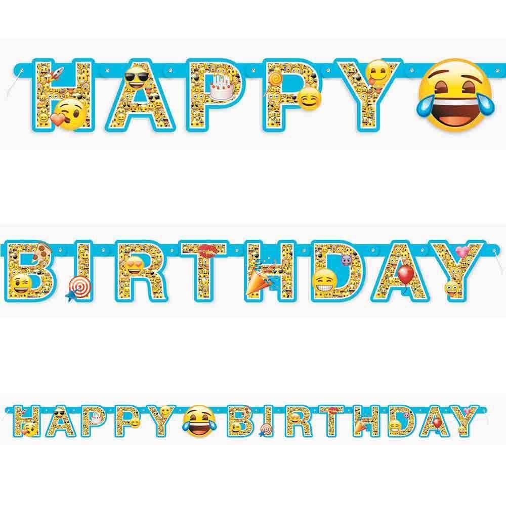 Large Emoji Happy Birthday Party BannerEmoji Party Decorations