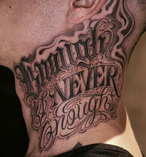 Chicano lettering pinteres for Cursive neck tattoos
