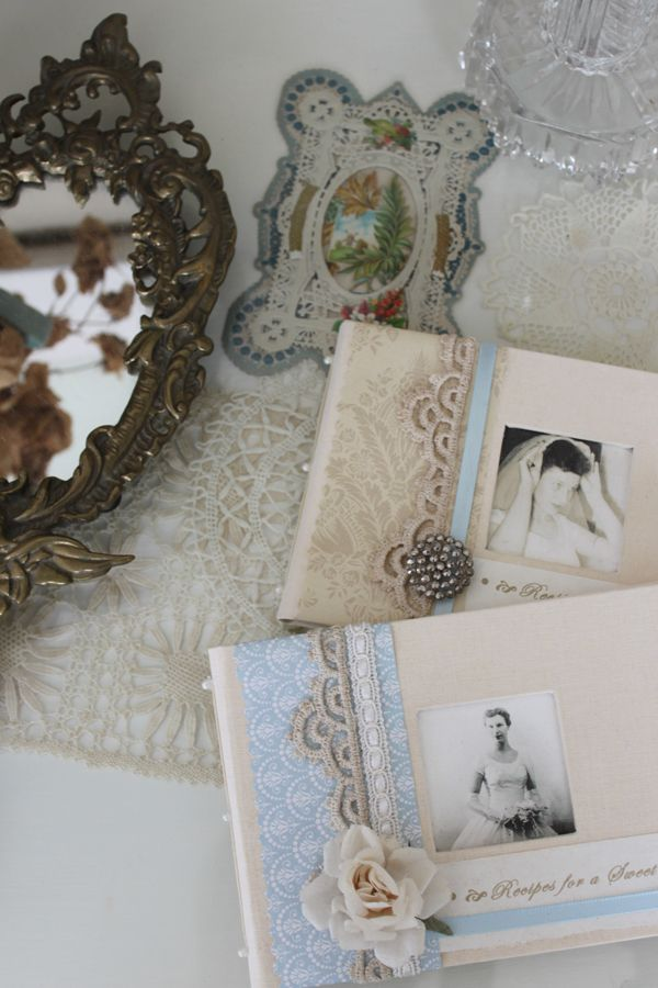 Vintage doilies and Valentines dress up my dressing table, Julia M. Usher