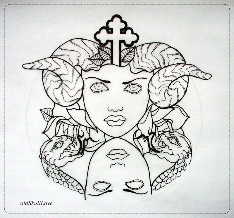 Tattoo Design OUTLINE By OldSkullLovebyMW.deviantart.com