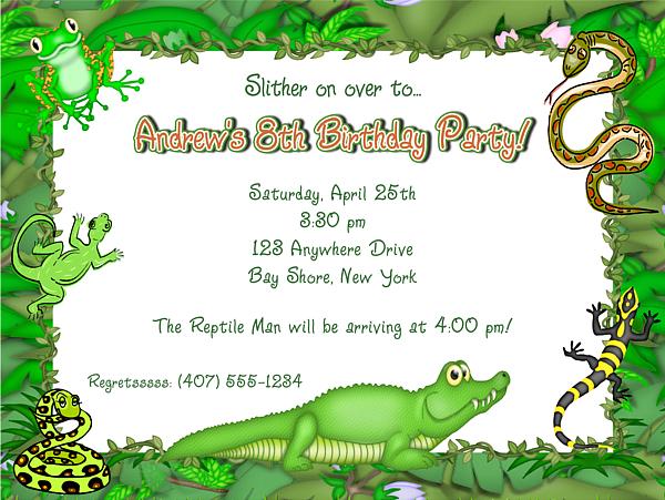 Reptile Alligator Frog Lizard Snake Birthday Party Invitations