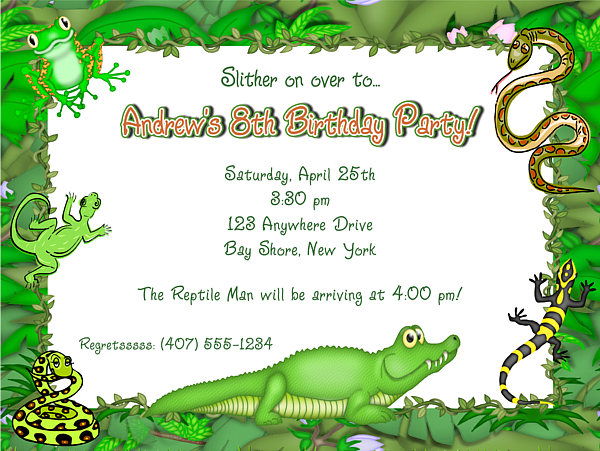 Reptile Alligator Birthday Party Invitations Reptile Kids