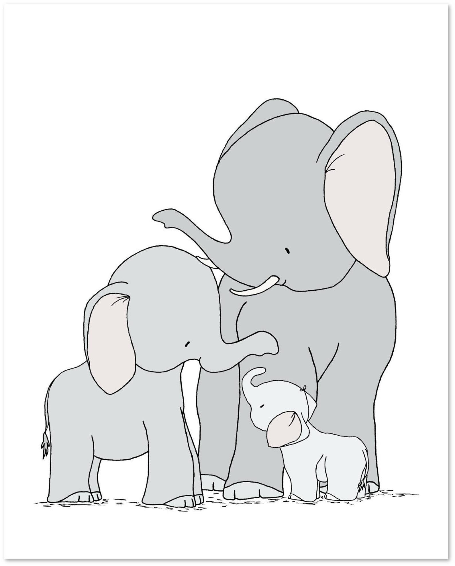 elefant kinderzimmer dekor  elefant familie kunst