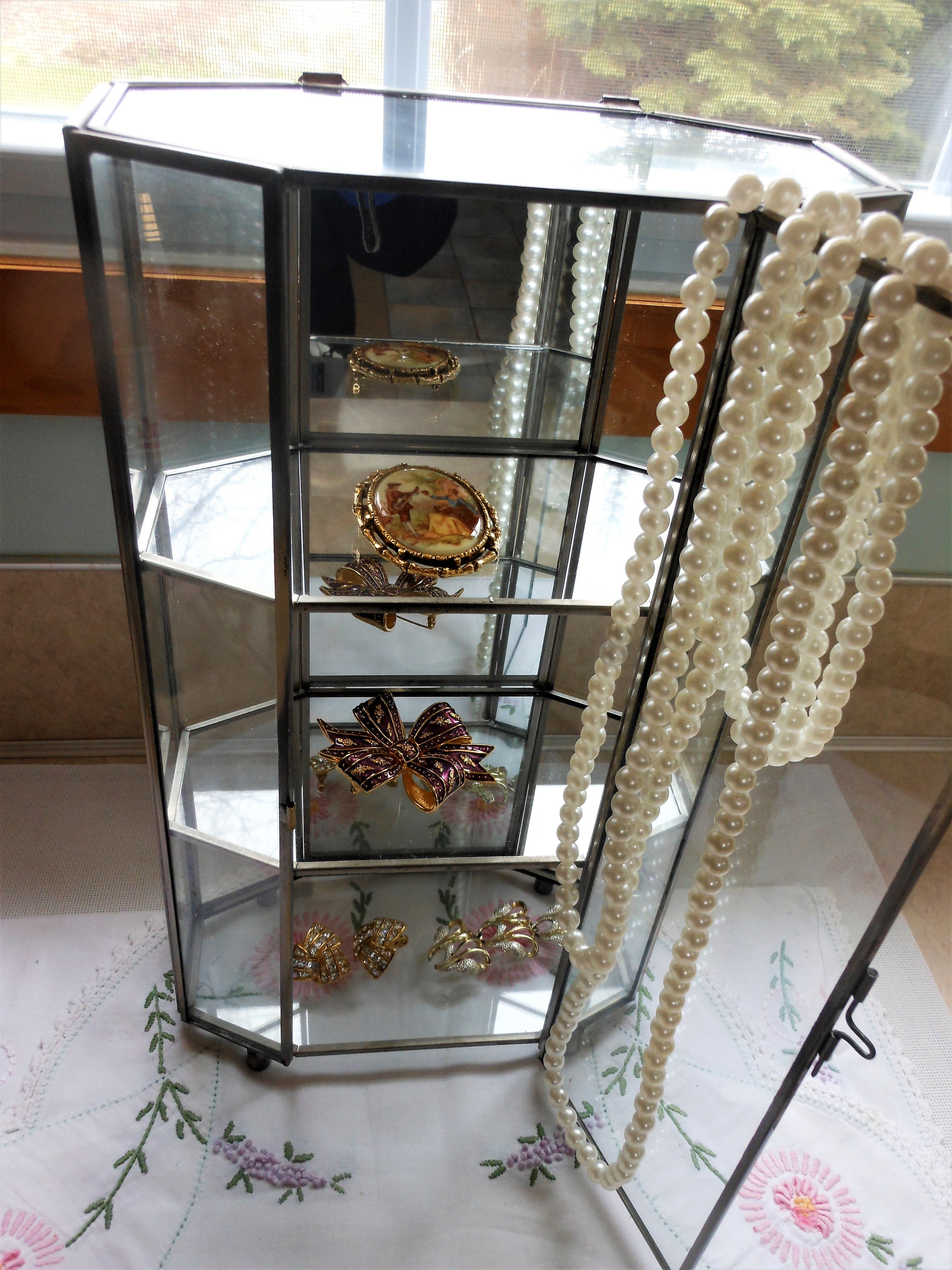 Vintage glass and brass curio cabinet mirrored see at Etsy store