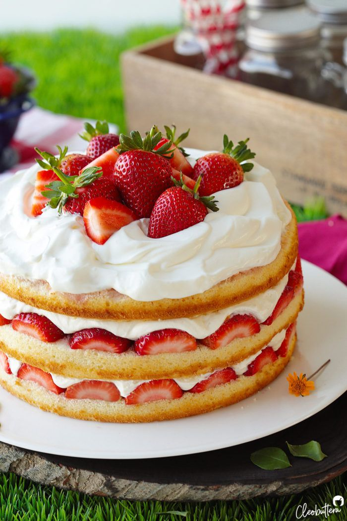 Strawberry Cream Cake | Cleobuttera