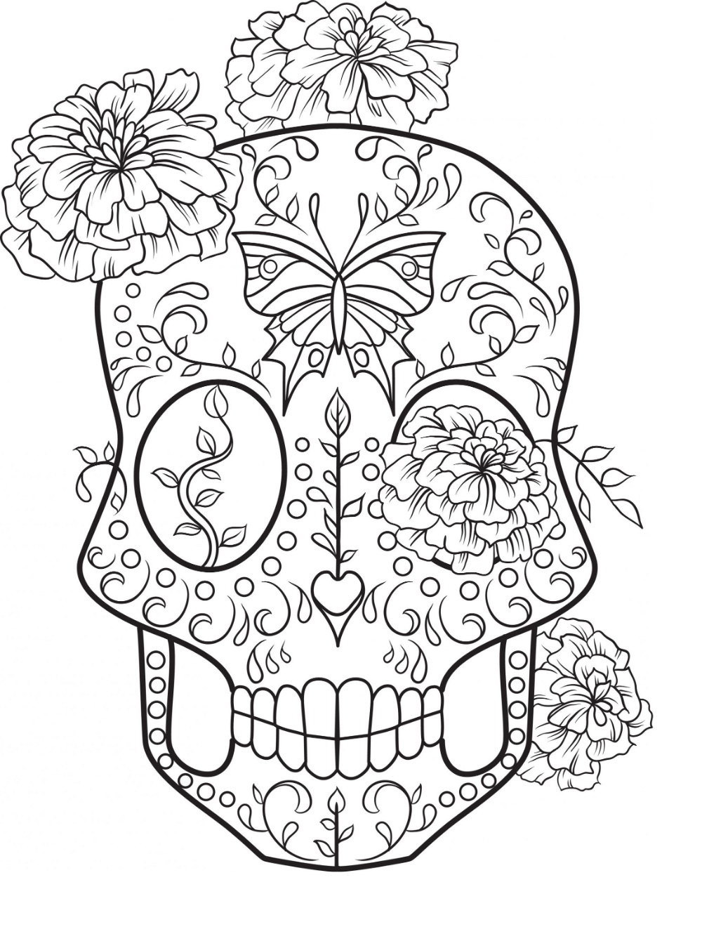 Easy Sugar Skull Coloring | Skull coloring pages, Coloring ...