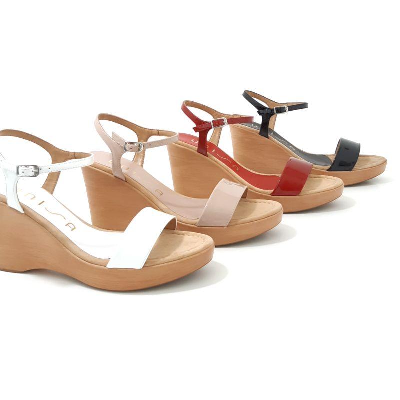 9a37c4f8b03c66 SANDALES Compensees en cuir verni Blanches, nude, rouge et noires Chaussures  femme plateforme marque